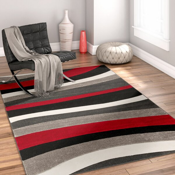 Rad Wave Red/Gray/Black Area Rug by Well Woven