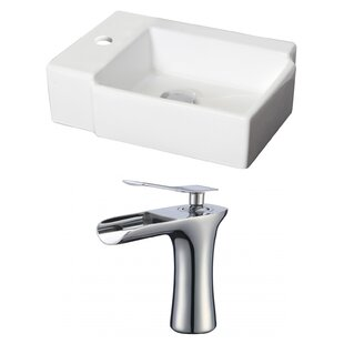 Savings Ceramic Rectangular Vessel Bathroom Sink with Faucet By Royal Purple Bath Kitchen