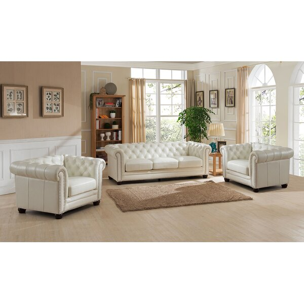 Nashville 3 Piece Leather Living Room Set by Amax