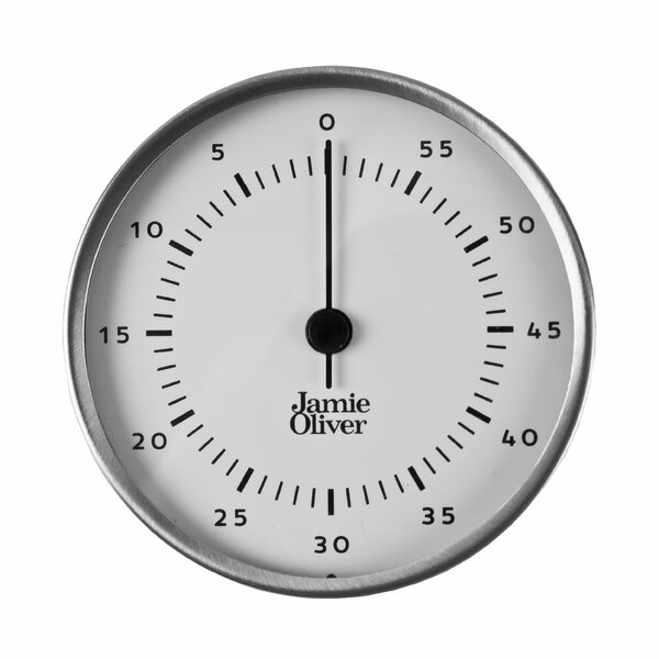 Stainless Steel Magnetic Kitchen Timer with Manual Wind Up and Loud Ring Stainless Steel by Jamie Oliver