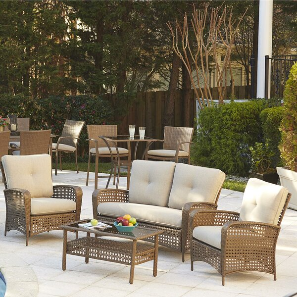 Edwards 4 Piece Rattan Sofa Seating Group With Cushions By Highland Dunes by Highland Dunes Cheap