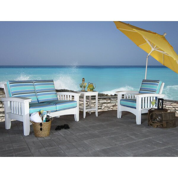 Days End 3 Piece Sunbrella Sofa Set with Cushions by Hershy Way