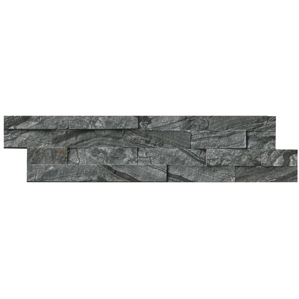 Tuscany Herringbone Random Sized Marble Splitface Tile in Glacial Black by MSI
