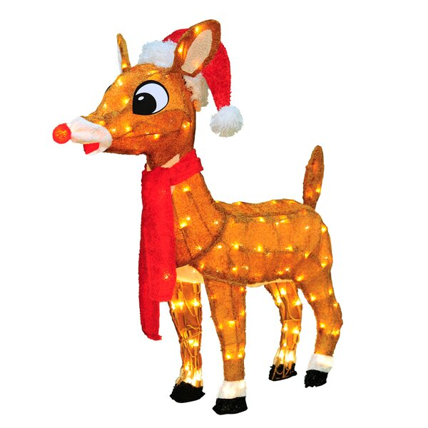 Soft Tinsel Rudolph the Red Nosed Reindeer Christmas Decoration with lights with Lights by Product Works