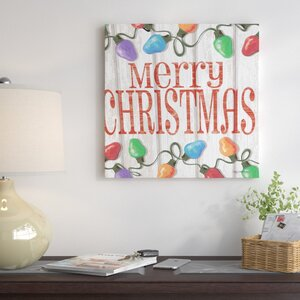 Merry Christmas Sign Textual Art on Wrapped Canvas