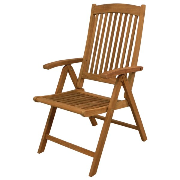Avalon Folding Teak Patio Dining Chair by Highland Dunes