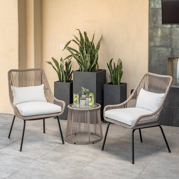 Jewett 3 Piece Rattan Seating Group with Cushions by Bayou Breeze