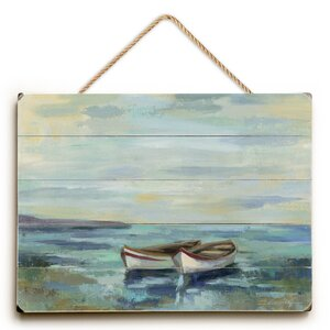 Boats at the Beach Painting Print by Beachcrest Home