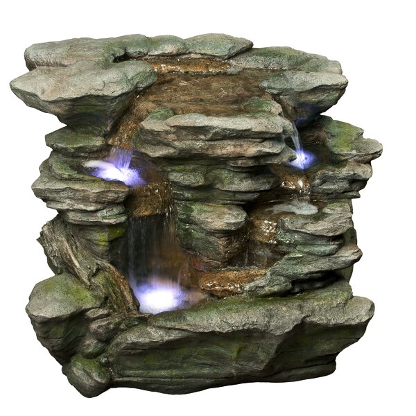 Fiberglass Waterfall Fountain with LED Light by Alpine