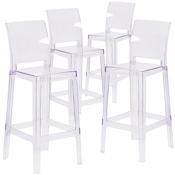 Darchelle Bar Stool with Square Back (Set of 4) by Willa Arlo InteriorsDarchelle Bar Stool with Square Back (Set of 4) by Willa Arlo Interiors