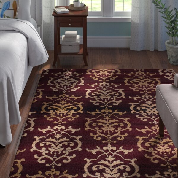 Fitchett Burgundy/Beige Area Rug by Andover Mills