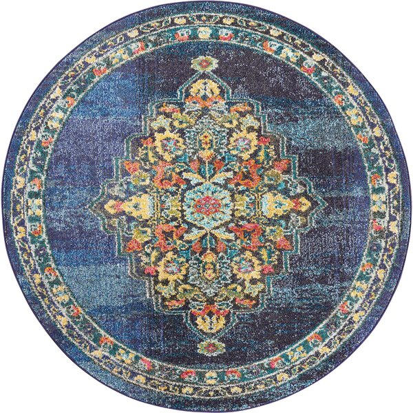 Lundy Traditional Medallion Blue/Beige Area Rug by World Menagerie