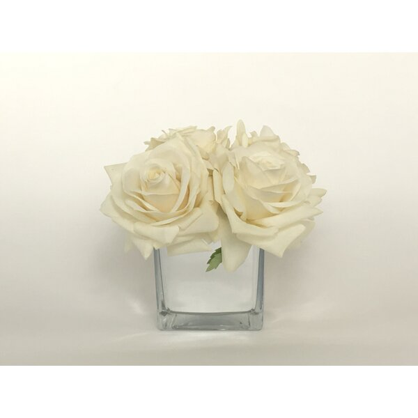 Artificial Silk Roses Floral Arrangement in Decorative Vase by House of Hampton