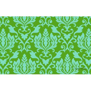 Francie Damask Green Area Rug