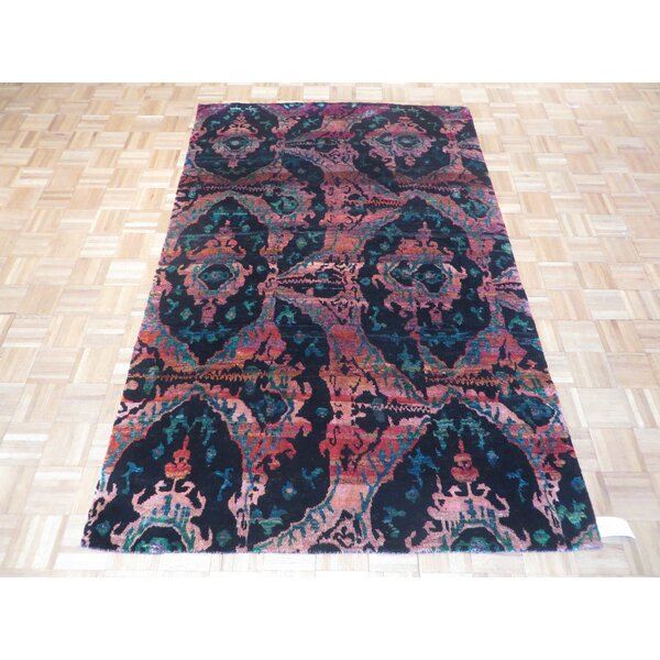 One-of-a-Kind Paez Ikat Hand-Knotted Black Area Rug by Bloomsbury Market