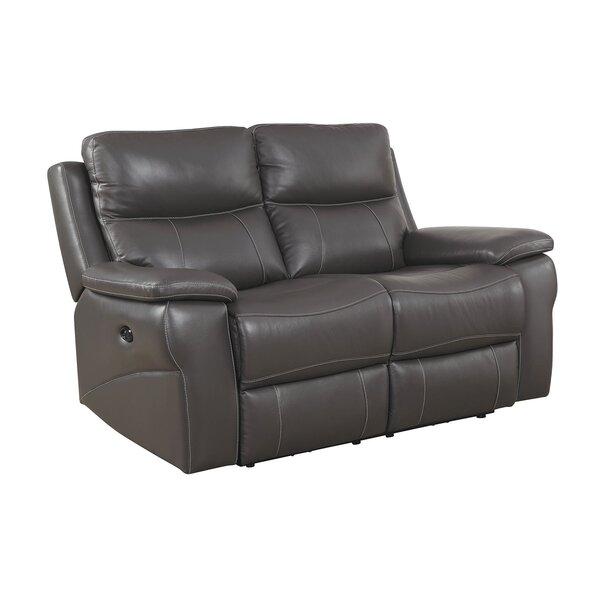 Heitman Contemporary Love Seat Leather Manual Wall Hugger Recliner [Red Barrel Studio]