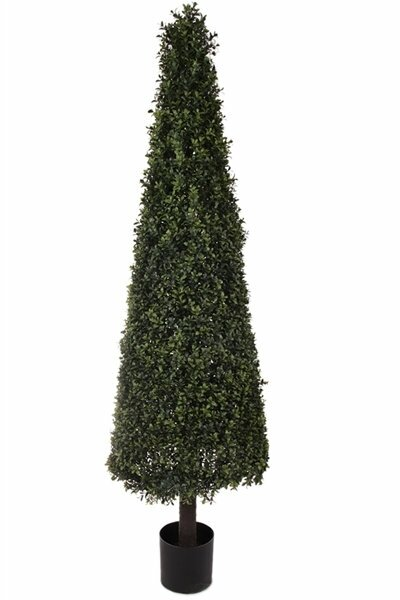 Artificial Deluxe Cone Floor Boxwood Topiary in Pot by Charlton Home
