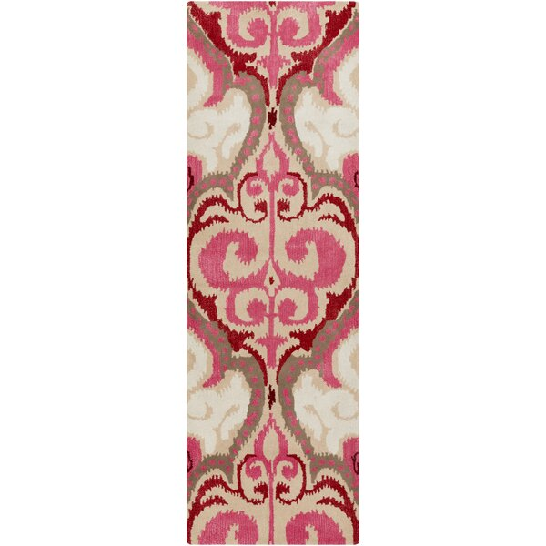 Osvaldo Hot Pink Ikat Area Rug by Bungalow Rose