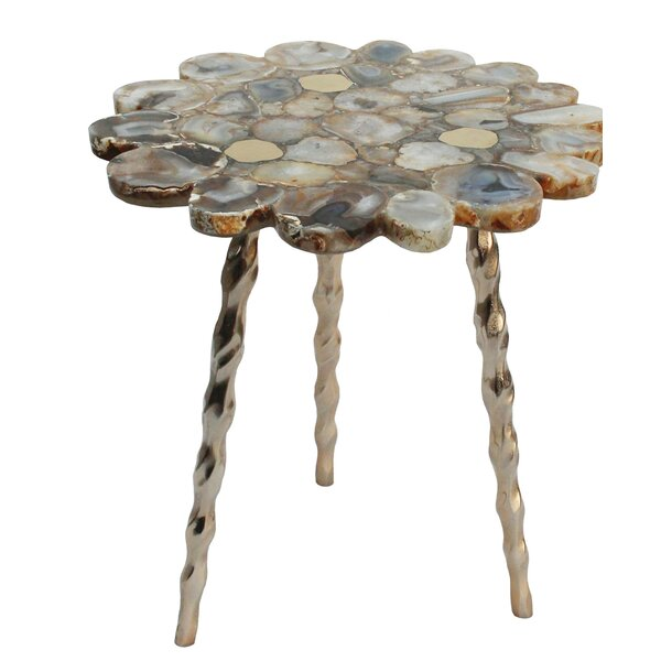 Sue Agate Side Table with Brass Inlay with Tri Legs - Soft Gold, Gold Agate by Mercer41 Mercer41