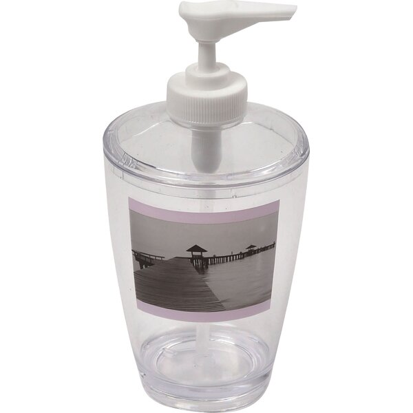 Seaside Clear Acrylic Printed Bathroom Soap Dispenser by Evideco