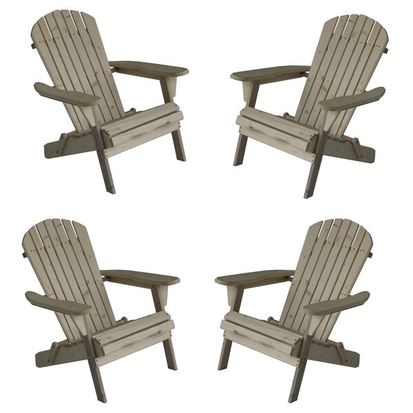 Oakden Oceanic Wood Folding Adirondack Chair (Set Of 4) By Highland Dunes