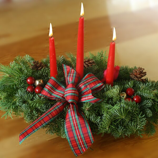 Highland 3 Candle Centerpiece by Worcester Wreath Inc.