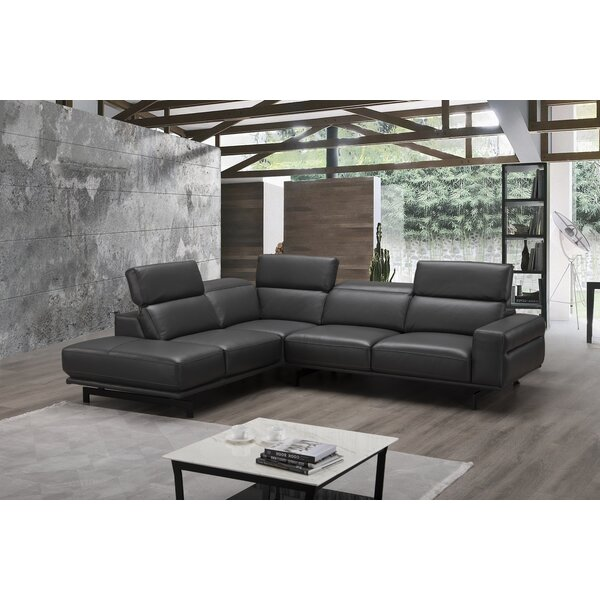 #2 Harrisonville Leather Sectional By Orren Ellis 2019 Coupon