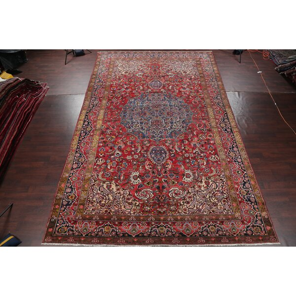 One-of-a-Kind Ally Hand-Knotted Before 1900 Burgundy 11'1 x 17'9 Wool Area Rug