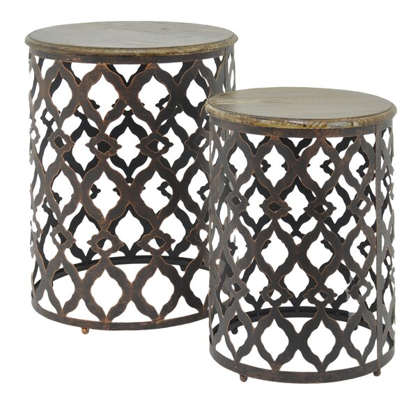 Metal and Wood 2 Piece Nesting Tables by Three Hands Co.