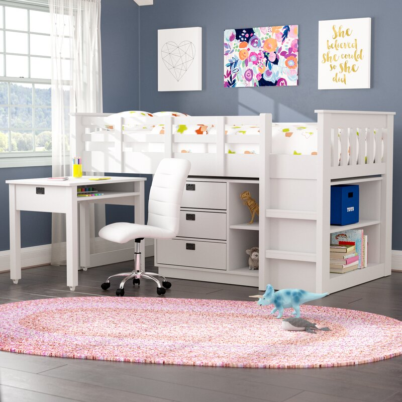 Mack Milo Angelica Twin Low Loft Bed With Shelves And Drawers