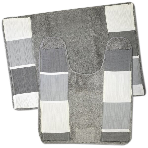 Hewitt Striped piece Bath Rug Set