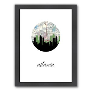 Atlanta Map Skyline Framed Graphic Art by East Urban Home