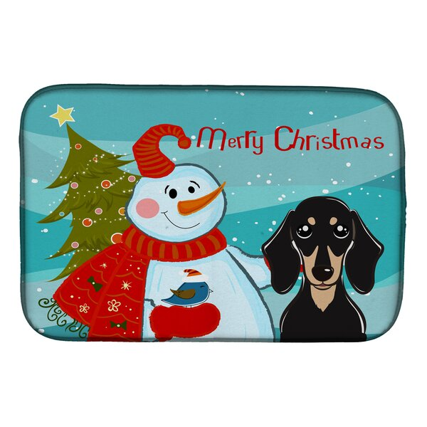 Snowman with Smooth Dachshund Dish Drying Mat by Caroline's Treasures