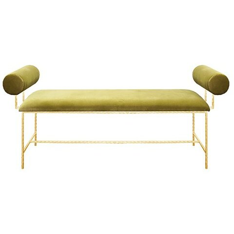 Bolster Upholstered Bench by Worlds Away