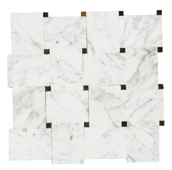 Carrera 12 x 12 Natural Stone/ Marble Mosaic Tile in White by Mirrella
