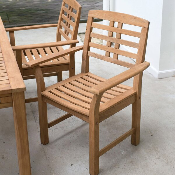 Calila Teak Patio Dining Chair with Cushion (Set of 2) by Birch Lane™ Heritage