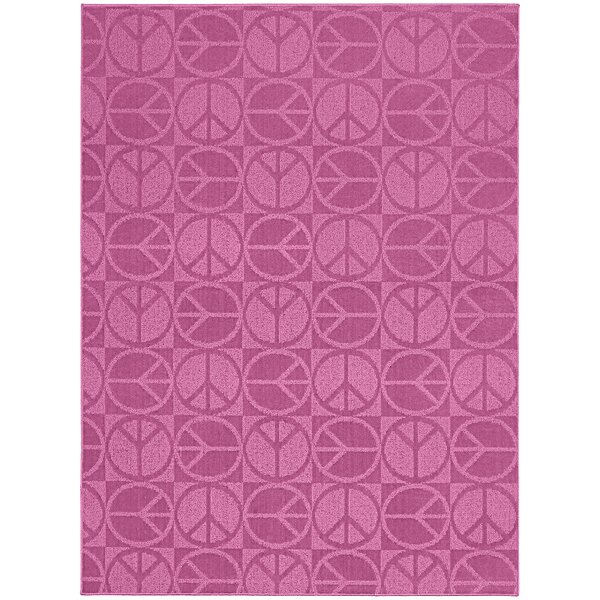 Pink Large Peace Indoor/Outdoor Area Rug by Garland Rug