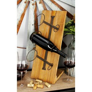 Wood Metal 3 Bottle Tabletop Wine Bottle Rack by Cole & Grey