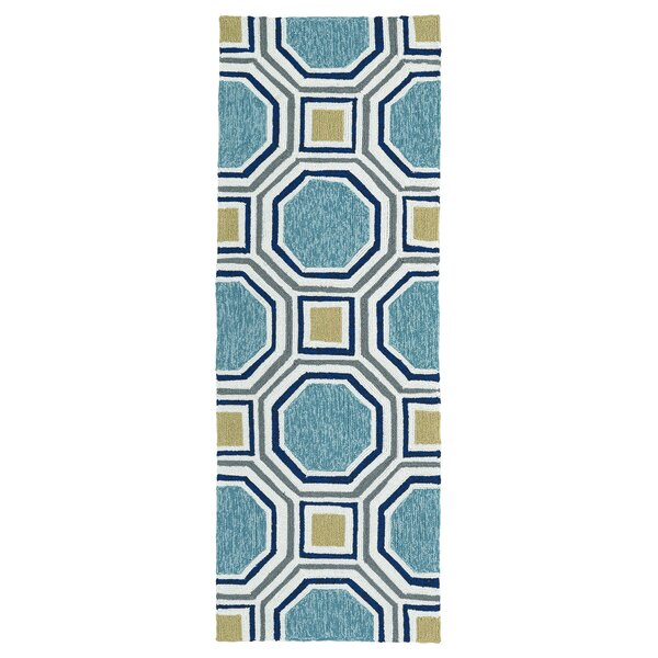 Doylestown Hand-Tufted Blue Indoor/Outdoor Area Rug by Wrought Studio