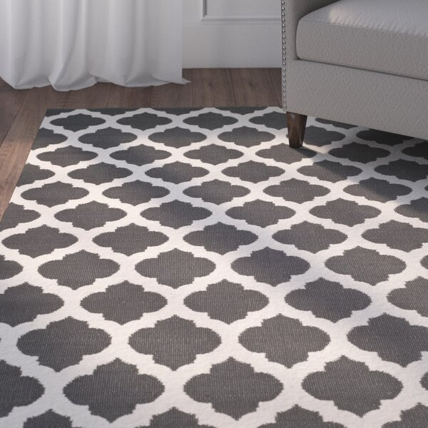 Willow Hand-Woven Dark Gray/Ivory Area Rug by Charlton Home