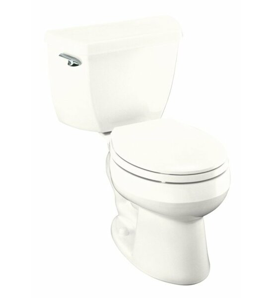 Wellworth Classic Two-Piece Round-Front 1.28 GPF Toilet with Class Five Flush Technology, Left-Hand Trip Lever and Tank Cover Locks by Kohler