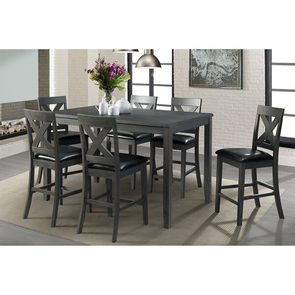 Colne 7 Piece Counter Height Solid Wood Pub Table Set by Darby Home Co