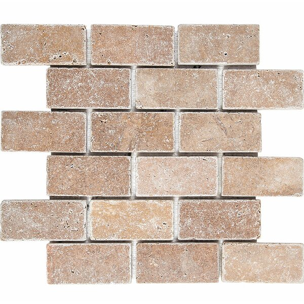 Tumbled Brick 2 x 4 Stone Mosaic Tile in Noce by Parvatile