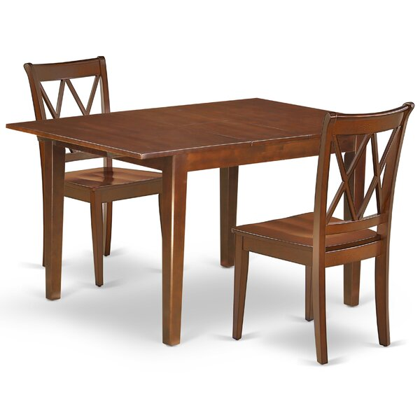 Krajewski 3 Piece Extendable Solid Wood Dining Set by August Grove