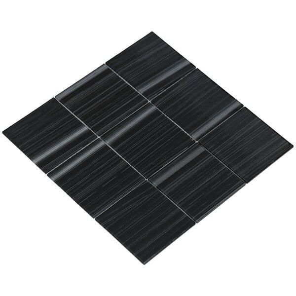 Shilla 12 x 12 Glass Mosaic Tile in Black/White by Mirrella
