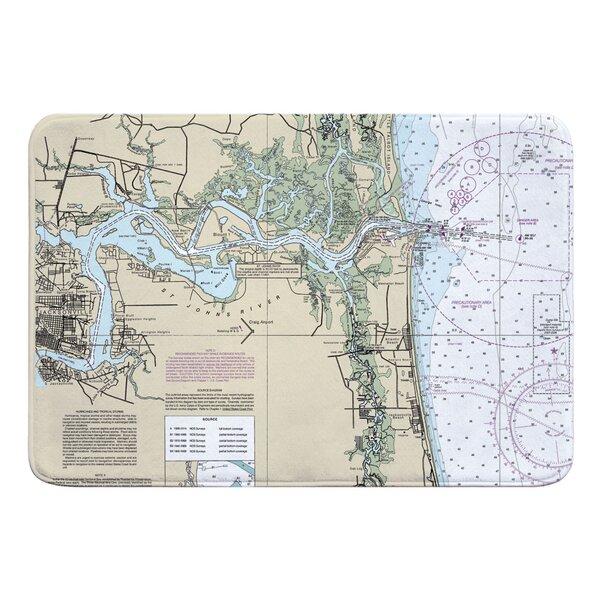 Nautical Chart Jacksonville FL Rectangle Memory Foam Non-Slip Bath Rug