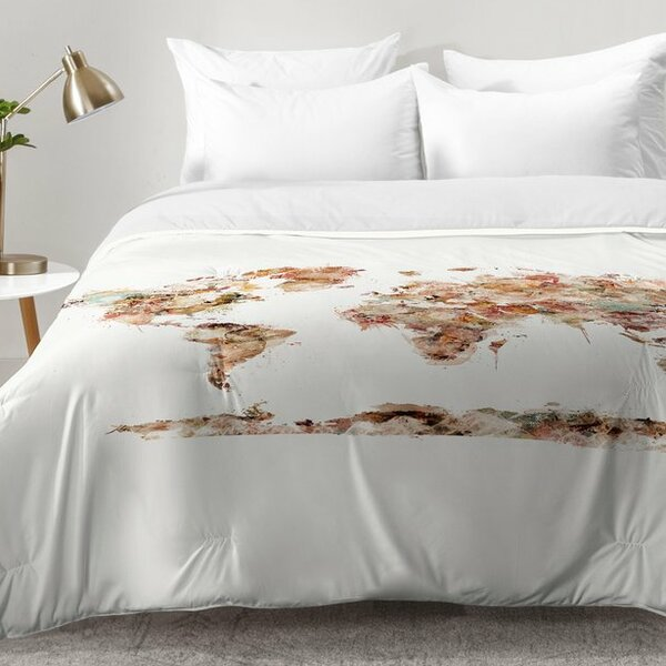World Map Watercolor Comforter Set