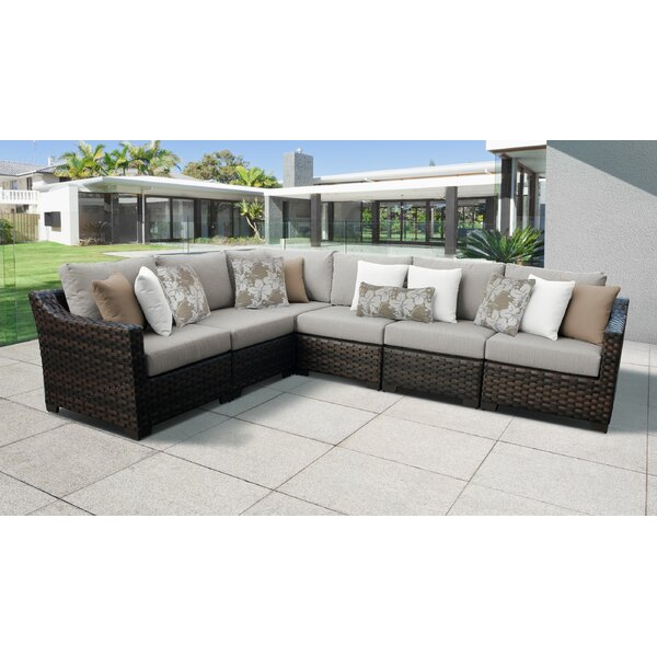 kathy ireland Homes & Gardens River Brook 6 Piece Outdoor Wicker Patio Furniture Set 06v by kathy ireland Homes & Gardens by TK Classics
