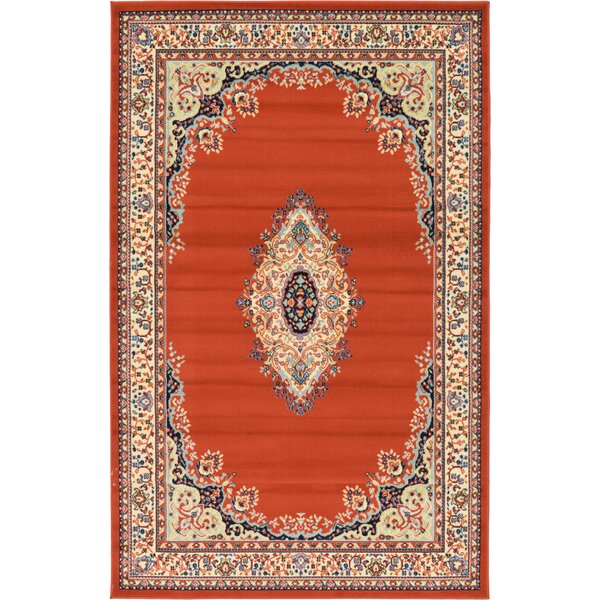 Astral Terracotta Area Rug by World Menagerie