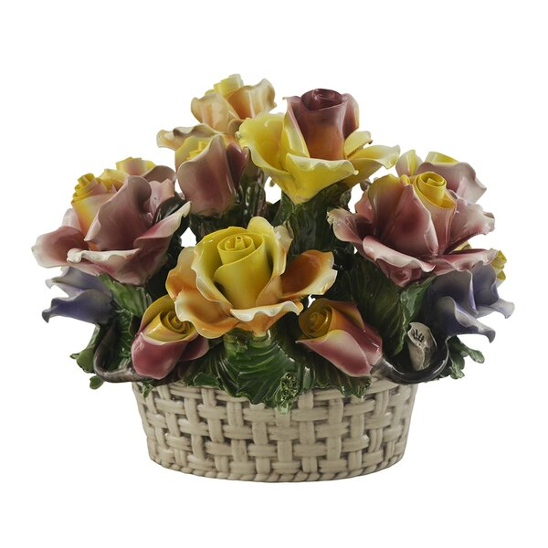 Festival Rose Flower Bouquet in Basket by August Grove